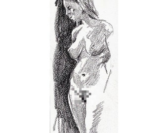 Chinagraph Study 3, original life drawing nude woman mature
