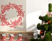 Christmas Wreath Vinyl Decal size SMALL- Christmas Decal, Wreath Decal, Holiday Design, Home Decor,