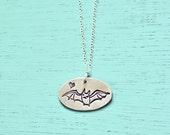 BAT NECKLACE - handmade sterling silver bat jewelry, halloween jewelry, kawaii bat