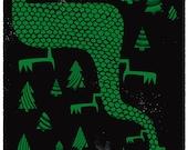 Screenprint - Dragon's Forest Silkscreen Art Print Limited Edition Mythical Green Dragon Art Poster