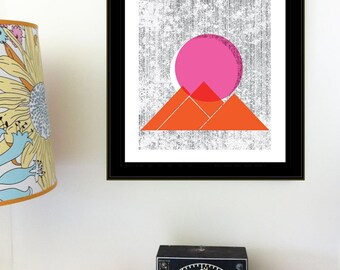 Screenprint - Sun Mountains Print Geometric Nature art print poster - limited edition hand silkscreen printed