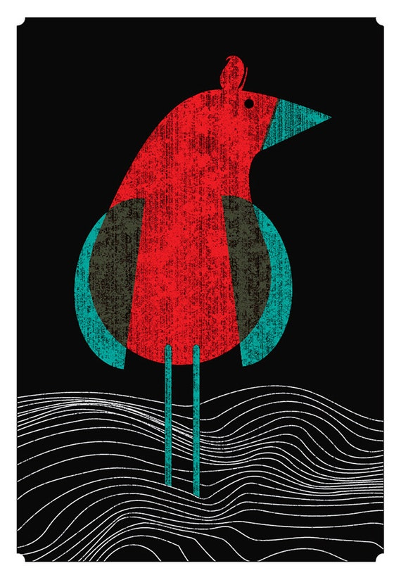 Screenprint - Seabird Art print Modern Bird On The Ocean & Sea art print