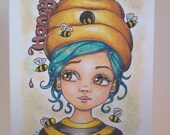 Girl drawing, Bee Hive art, ORIGINAL drawing, face illustration, children illustration, hand drawn, small format art, blank note card