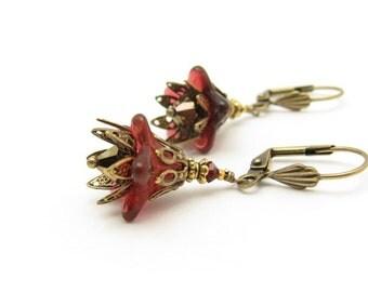 Flower Earrings, Boho Bohemian, Red Cranberry Flower Earrings, Valentine Jewelry, Valentine Earrings, Swarovski Crystal Earrings,
