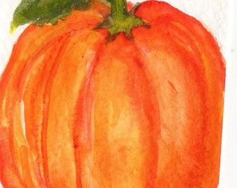 ACEO Pumpkin Original  Watercolor Painting, art card