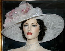 "Kentucky Derby Hat Edwardian Hat Downton Abbey Hat, Titanic Hat  ""Kentucky Morning"" White and Pink Ascot Hat"