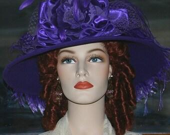 Ascot Hat Kentucky Derby Hat Wide Brim Tea Hat Titanic Hat Somewhere in Time Hat Downton Abbey Hat Edwardian Hat Purple Hat Wool - La Rienne