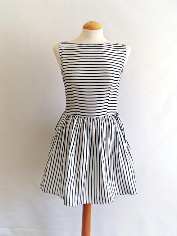 Audrey Dress 50s Prom Party Stripe Satin Bateau Uk Size 8