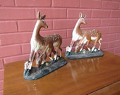 Painted Cast Iron Deer Bookends or Door Stoppers
