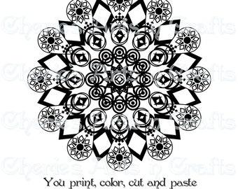 Digi Stamp Mandala, PDF and PNG Files, Mandala Graphics, You Print, You Color, Mandala Clip Art, Instant Download, Zentangle Clipart, Art