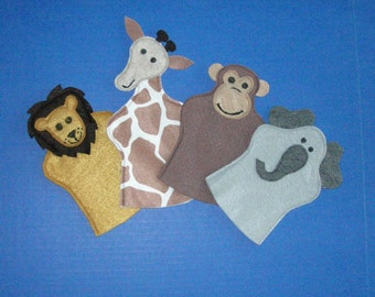 Safari Puppet set of 4, Giraffe, Lion, Elephant, Monkey