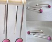 MicroDot Enamel Earrings, Orchid Pink Kiln-fired Glass Enamel and Sterling Silver