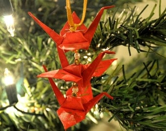 Red Origami Crane Trio Christmas Tree Ornament -- Gold Japanese Believe Kanji Holiday Decoration