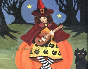 Witch girl Halloween pumpkin black cat art print reproduction lute woodland cute spooky forest art red cape childrens room storybook art
