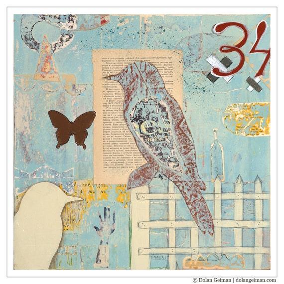 March Rain Bird and Butterfly Feminine Art Prints