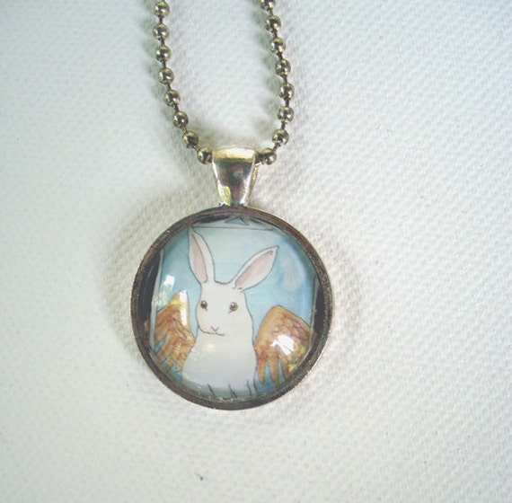 SALE - Bunny Angel - Unique Round Pendant -  White Rabbit with Golden Wings -Rabbit Necklace