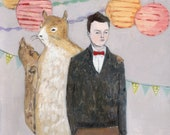 julian's imaginary friend kept him company at parties - giclee print of original oil painting