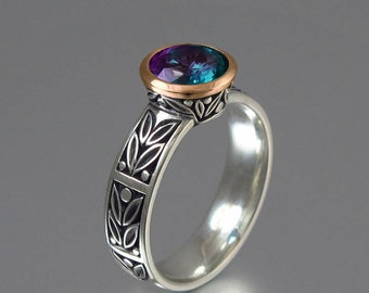 LAUREL CROWN silver ring with lab Alexandrite