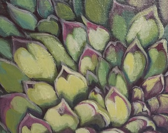 "Garden Art Painting Decor ""Hen and Chicks no.3"" free shipping, succulent leaves, xeriscape, original, yellow green red violet, gardener gift"