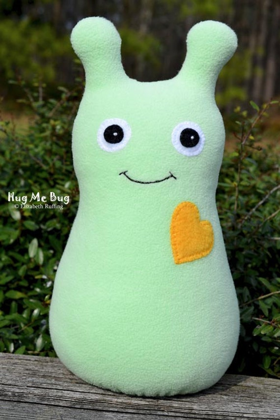 Reserved for Qiana, Handmade Bug, Stuffed Animal Plush Toy, Hug Me Bug, Personalized Tag, Mint Green, Gold Fleece, 12 inch, Ready-made
