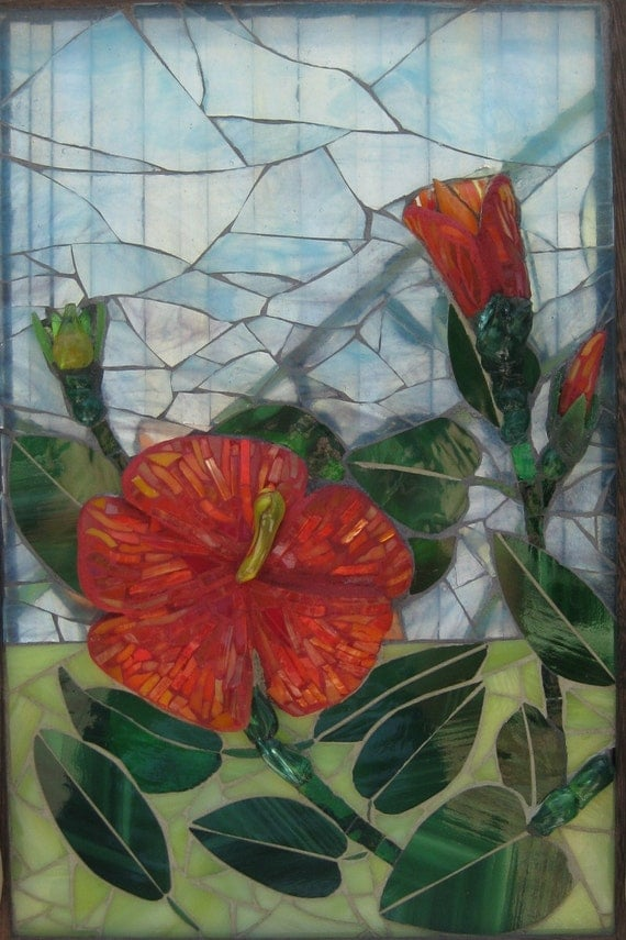 Double Sided Glass Mixed Media Glass Mosaic Window Hanging Fire and Rain Hibiscus Flower