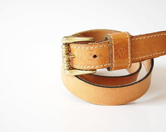 Classic vintage Leather Belt / ribbed Brass Buckle womens belt / Anne Klein / made in Spain / high quality / waist 32 33 34