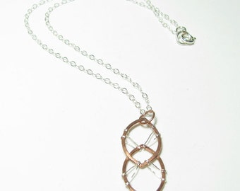 """Copper and Sterling Silver Stitched """"Double Leaf"""" Necklace"""