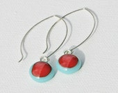 Earrings, Long Fused Glass Earrings inTurquoise and Red with Silver Plate - Handmade Earrings