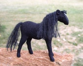 Stuffed Horse, Waldorf Stuffed Animal, Nature Table, Hand Stitched, Wool Felt, Black with White Star