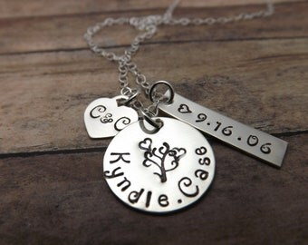 personalized necklace - family necklace-Tree of life-Mommy necklace-Grandmothers-hand stamped necklace-personalized-heart family tree