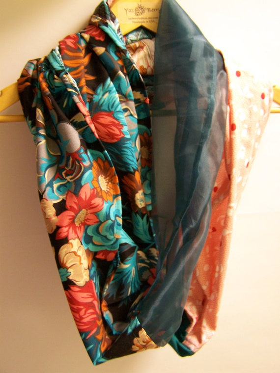 Infinity Scarf - Teal Flowers Peach Orange Black - YazBerry - Handmade