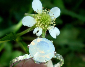 Opalite ring 8mm prong set in eco friendly, reclaimed/recycled .925 sterling silver - custom made in your size - Summer Wedding