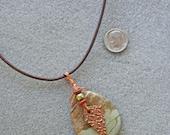 Wilderness pendant necklace with landscape jasper, copper, Swarovski pearl and Czech glass