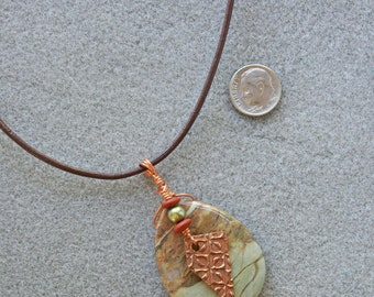 Wilderness pendant necklace with landscape jasper, copper, Swarovski pearl and Czech glass