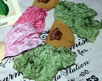 Crinkled rayon seam binding , 18 yds , Shabby Rose Garden , pinks , green , Vintage Style Ribbon