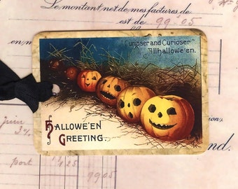 Halloween - Vintage -  Tags - Pumpkins in a Row