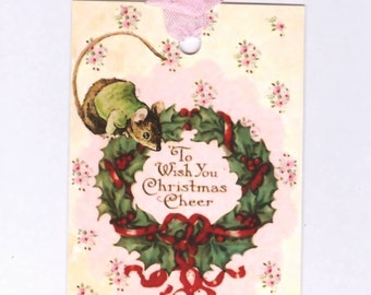 Christmas Tags -  Vintage Mouse and Wreath