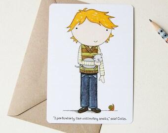 Postcard - Colin the Snail Collector - Single Card (Blank)