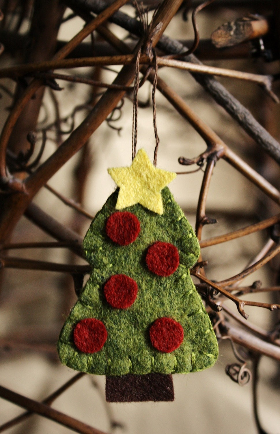 tiny Christmas tree brooch or felt ornament handmade holiday decoration