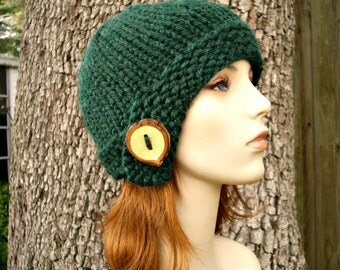Knit Hat Green Womens Hat - Cloche Hat in Pine Green Knit Hat - Green Hat Green Beanie Green Cloche Womens Accessories Winter Hat