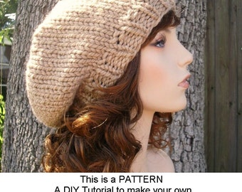 Instant Download Knitting Pattern - Knit Hat Knitting Pattern - Knit Hat Pattern for Champlain Beret - Womens Hat - Womens Accessories