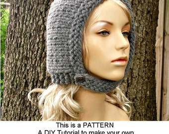Instant Download Knitting Pattern - Ear Flap Hat Pattern - Pilot Hat Pattern for Pixie In Training Aviator Cap - Womens Accessories