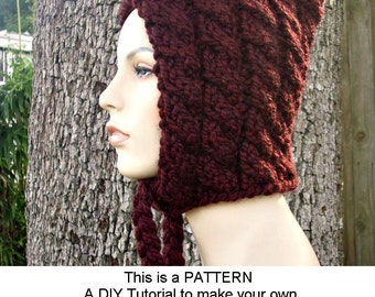 Instant Download Knitting Pattern - Knit Hat Knitting Pattern - Knit Hat Pattern Cable Pixie Hat - Womens Hat Pattern - Womens