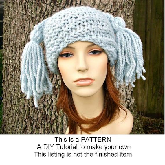 Pattern - Knit Beanie Pattern - Knit Hat Pattern for Spiral Ponytail ...