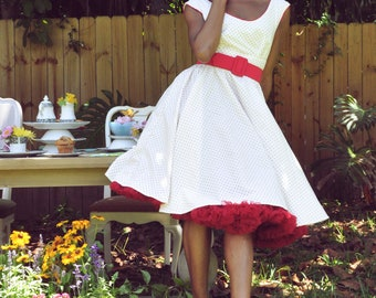 Sample Sale Retro Pin Up White Dress with Small Red Polka Dots Piping and Gathered Full Circle Skirt size small