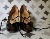 Jet Black Dancing Heels with Peep Toe, Ankle Tie and Decorative Cutouts- Palizzio Brand- Vintage 1960s- US 8.5 UK 6 EU 39.5