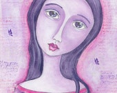 Mixed Media Art, Folk Art, Purple, Original Watercolor, Wall Art, Girl - She Was At Peace with Her Decision
