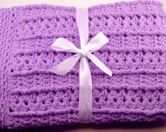 PDF Pattern Crocheted Baby Afghan, CAR SEAT Size and Newborn Size Blanket -- Lavender Shells