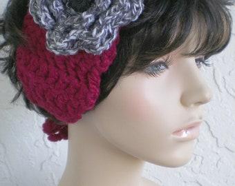 hand crochet Headband Headwrap Earwarmer ear warmer women headband hair womens accessories wool  ~ annies chunky head wrap ~ Cranberry