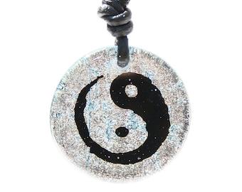 Yin Yang Taoist Symbol Dichroic Glass Pendant